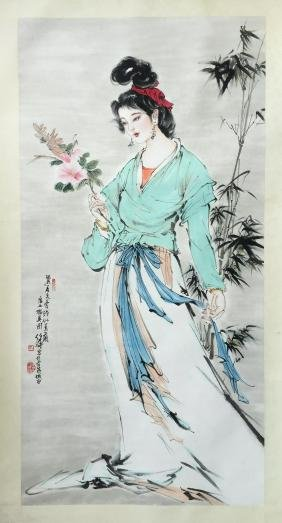 CHINESE SCROLL PAINTING OF BEAUTY AND BAMBOO