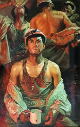 LARGE CHINESE OIL PAINTING OF STEEL WORKERS ON CANVOS