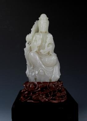 Celadon Jade Carved Seated Guanyin