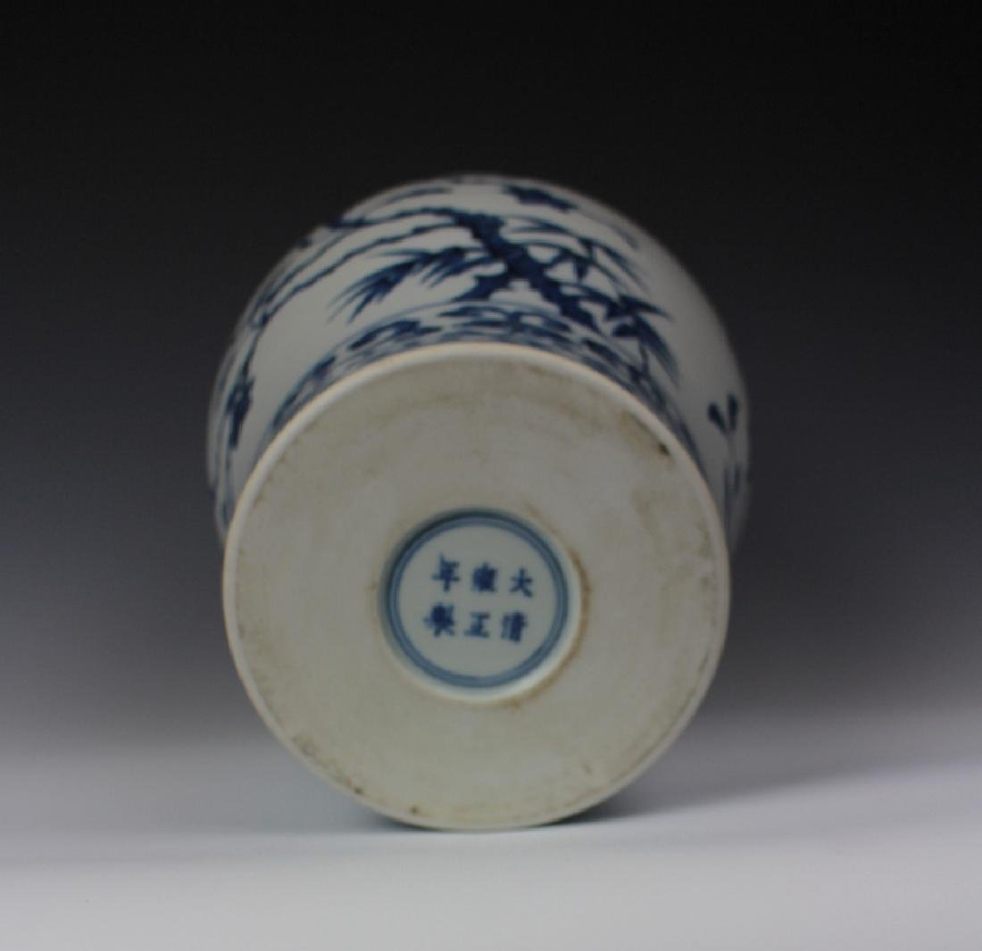 CHINESE PORCELAIN BLUE AND WHITE FLOWER MEIPING VASE - 4