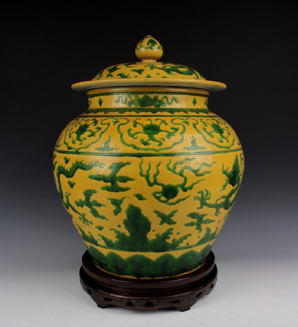CHINESE PORCELAIN YELLOW GROUND GREEN PAINTED DRAGON - 3