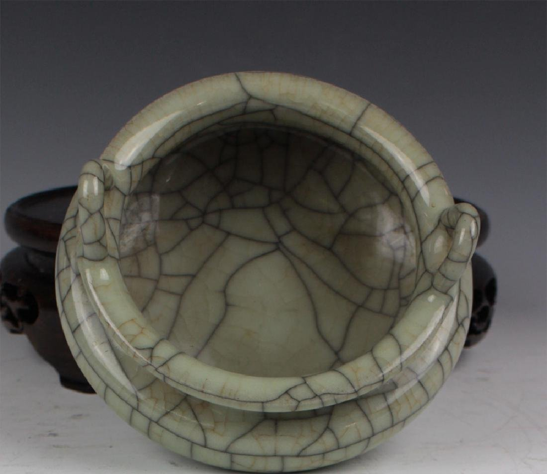 CHINESE PORCELAIN CRACKED GLAZE CENSER - 4