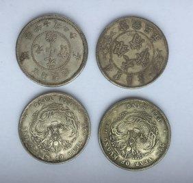 Four Chinese Dollar Coins Republic Period