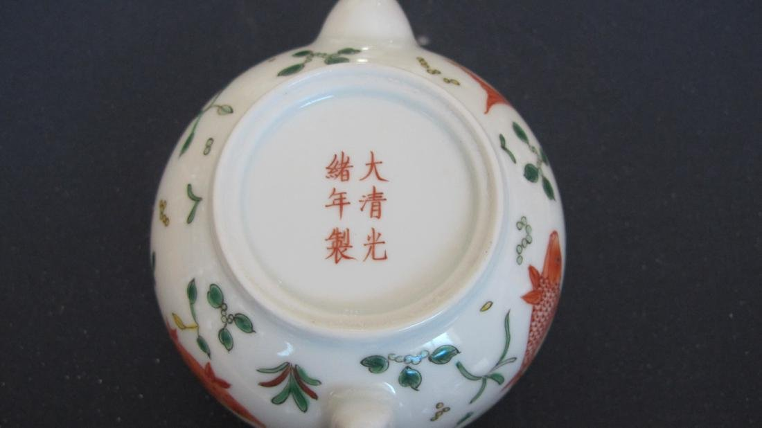 CHINESE PORCELAIN FAMILLE ROSE TEA POT - 5
