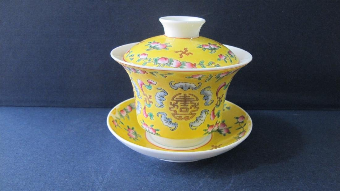 CHINESE PORCELAIN YELLOW GROUND FAMILLE ROSE LIDDED TEA - 3