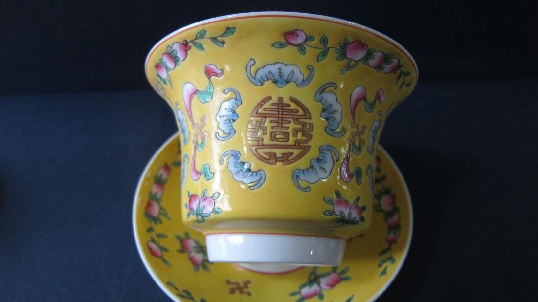 CHINESE PORCELAIN YELLOW GROUND FAMILLE ROSE LIDDED TEA - 5