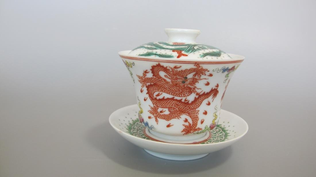 CHINESE PORCELAIN FAMILLE ROSE LIDDED TEA CUP