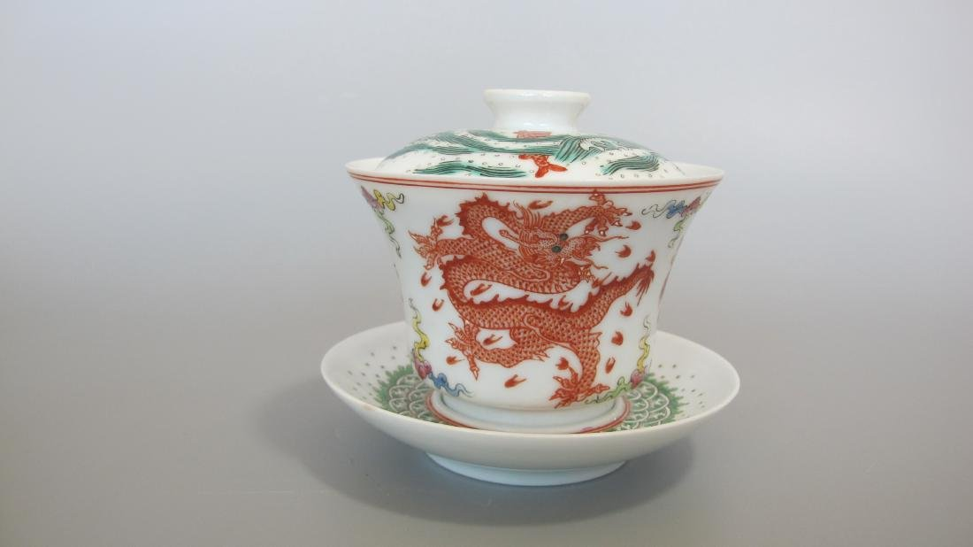 CHINESE PORCELAIN FAMILLE ROSE LIDDED TEA CUP - 2