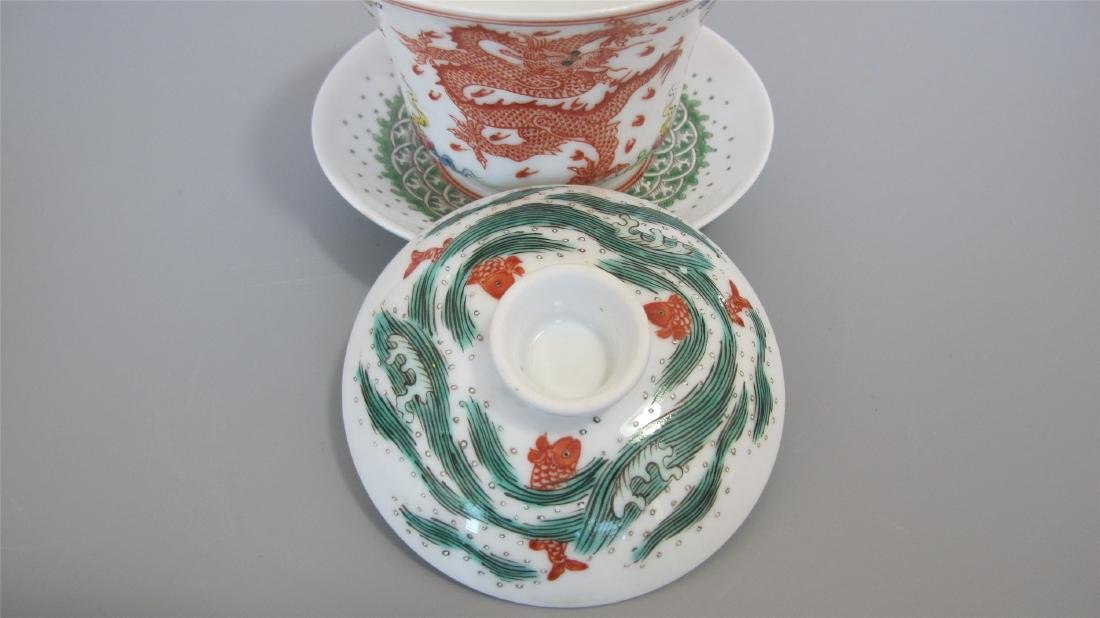 CHINESE PORCELAIN FAMILLE ROSE LIDDED TEA CUP - 3
