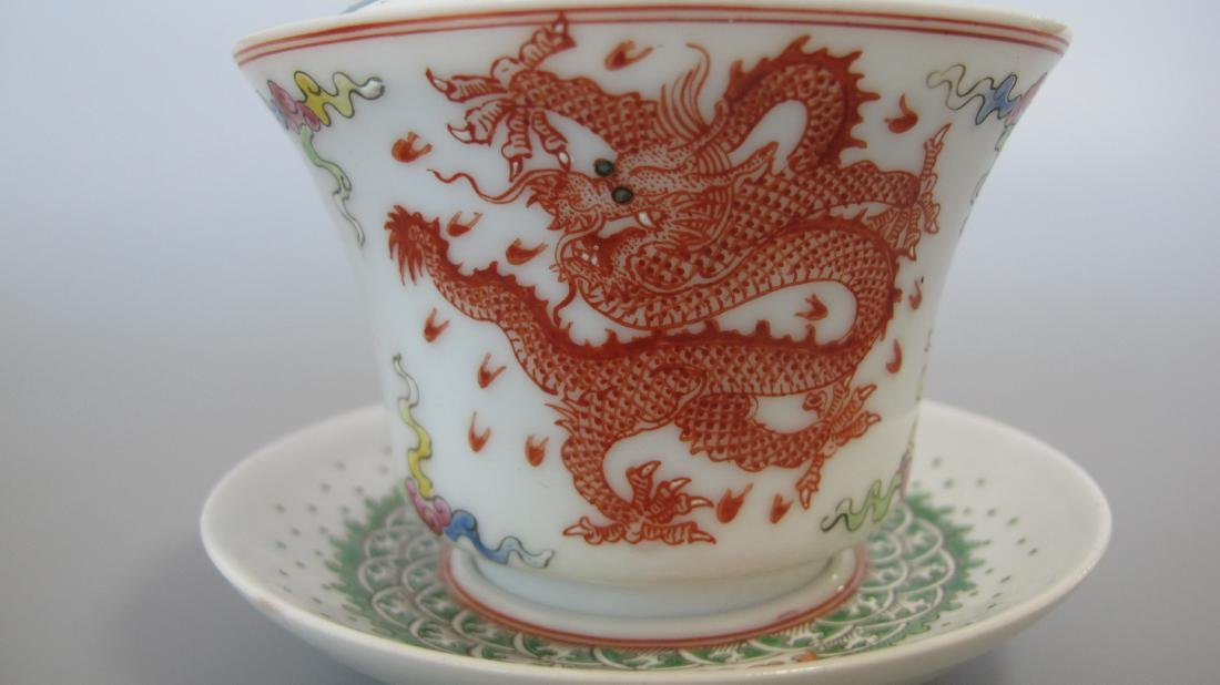 CHINESE PORCELAIN FAMILLE ROSE LIDDED TEA CUP - 5