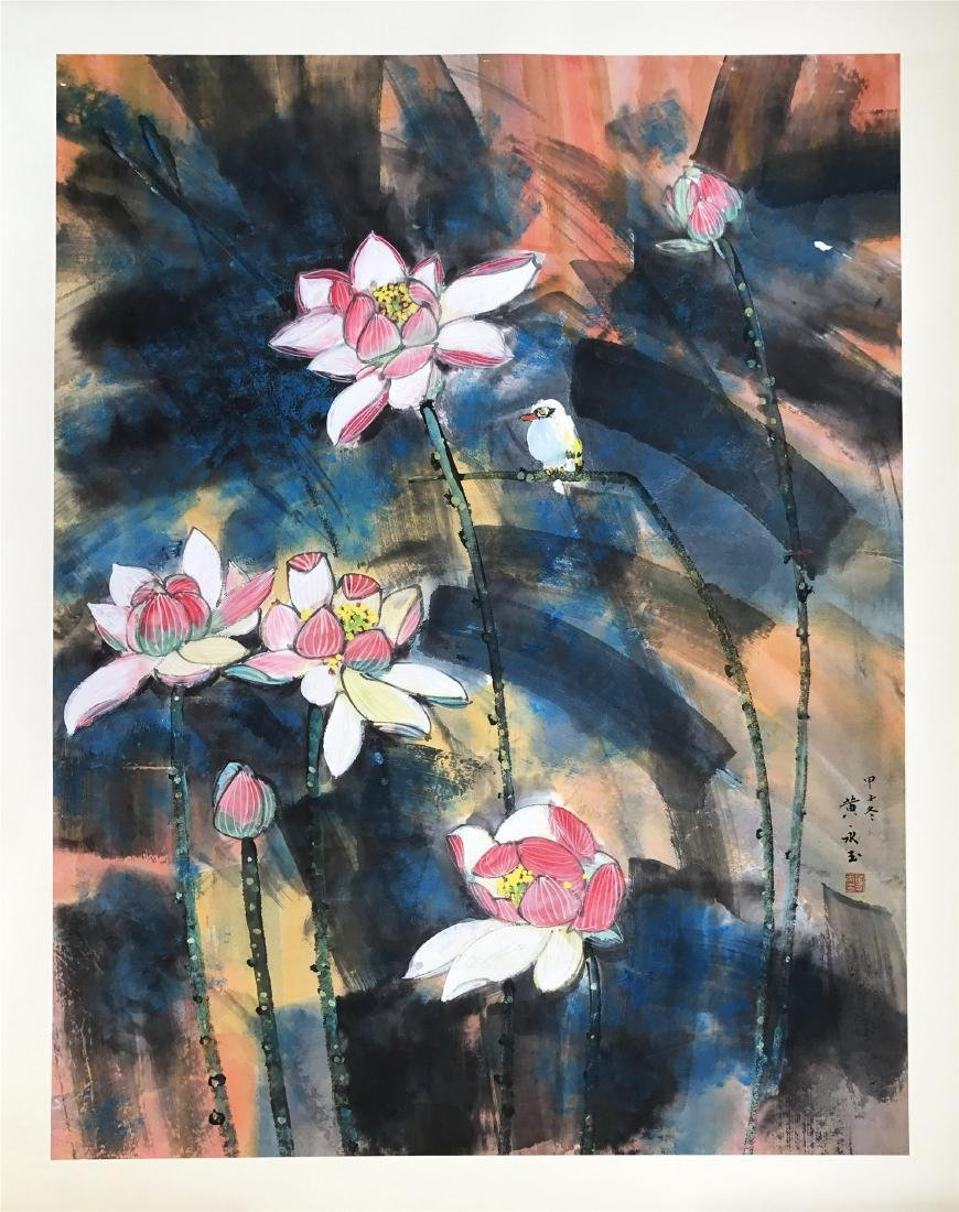 CHINESE SCROLL PAINTING OF LOTUS