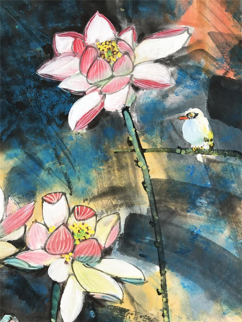 CHINESE SCROLL PAINTING OF LOTUS - 2