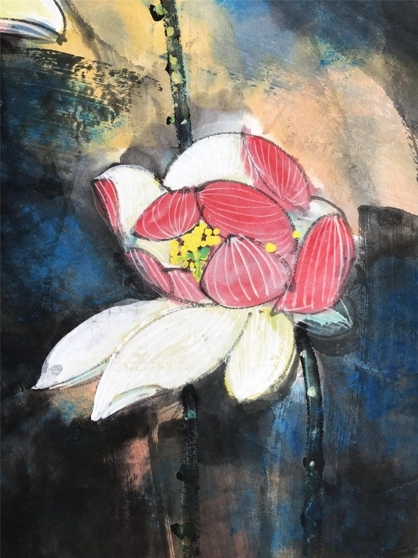 CHINESE SCROLL PAINTING OF LOTUS - 3