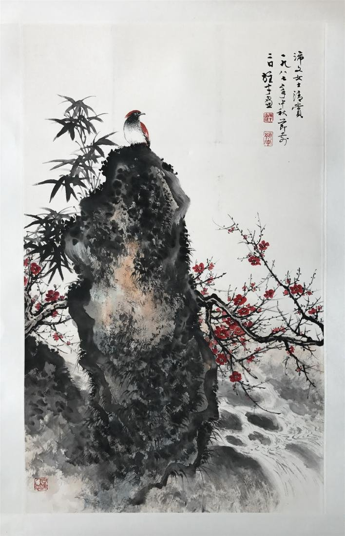 CHINESE SCROLL PAINTING OF BIRD AND ROCK