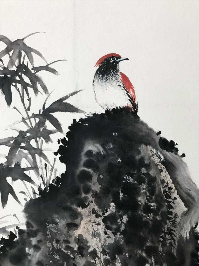 CHINESE SCROLL PAINTING OF BIRD AND ROCK - 2