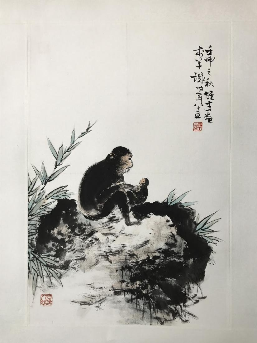 CHINESE SCROLL PAINTING OF MONKEY
