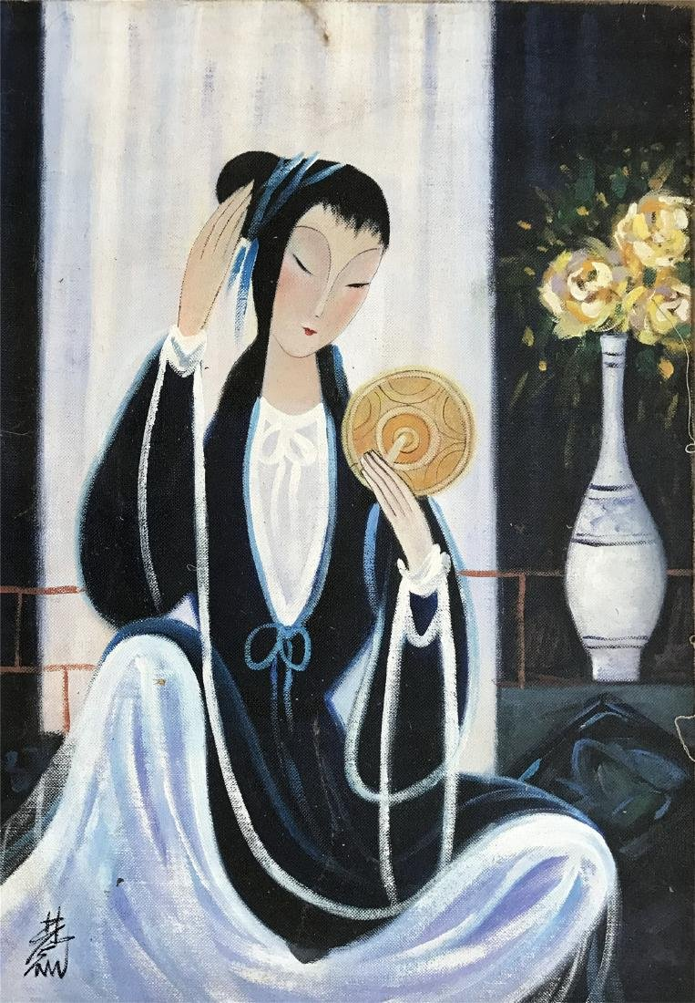 CHINESE OIL PAINTING OF SEATED BEAUTY ON CANVOS