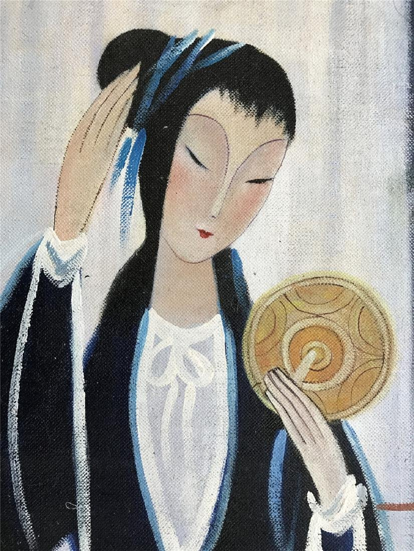 CHINESE OIL PAINTING OF SEATED BEAUTY ON CANVOS - 2