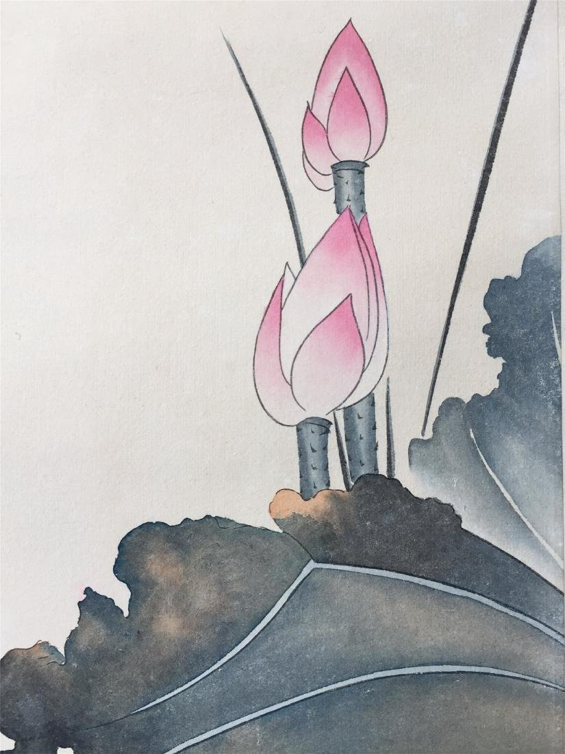 CHINESE SCROLL PAINTING OF LOTUS - 4