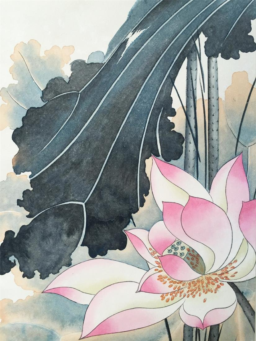 CHINESE SCROLL PAINTING OF LOTUS - 5