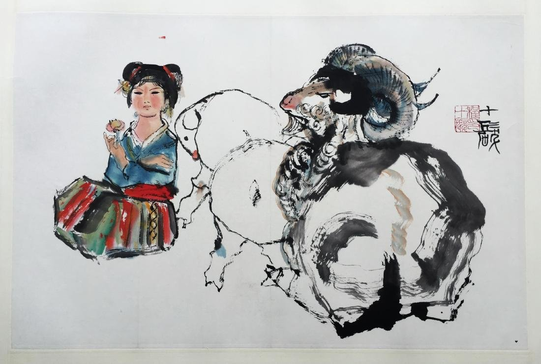 CHINESE SCROLL PAINTING OF GIRL AND RAM
