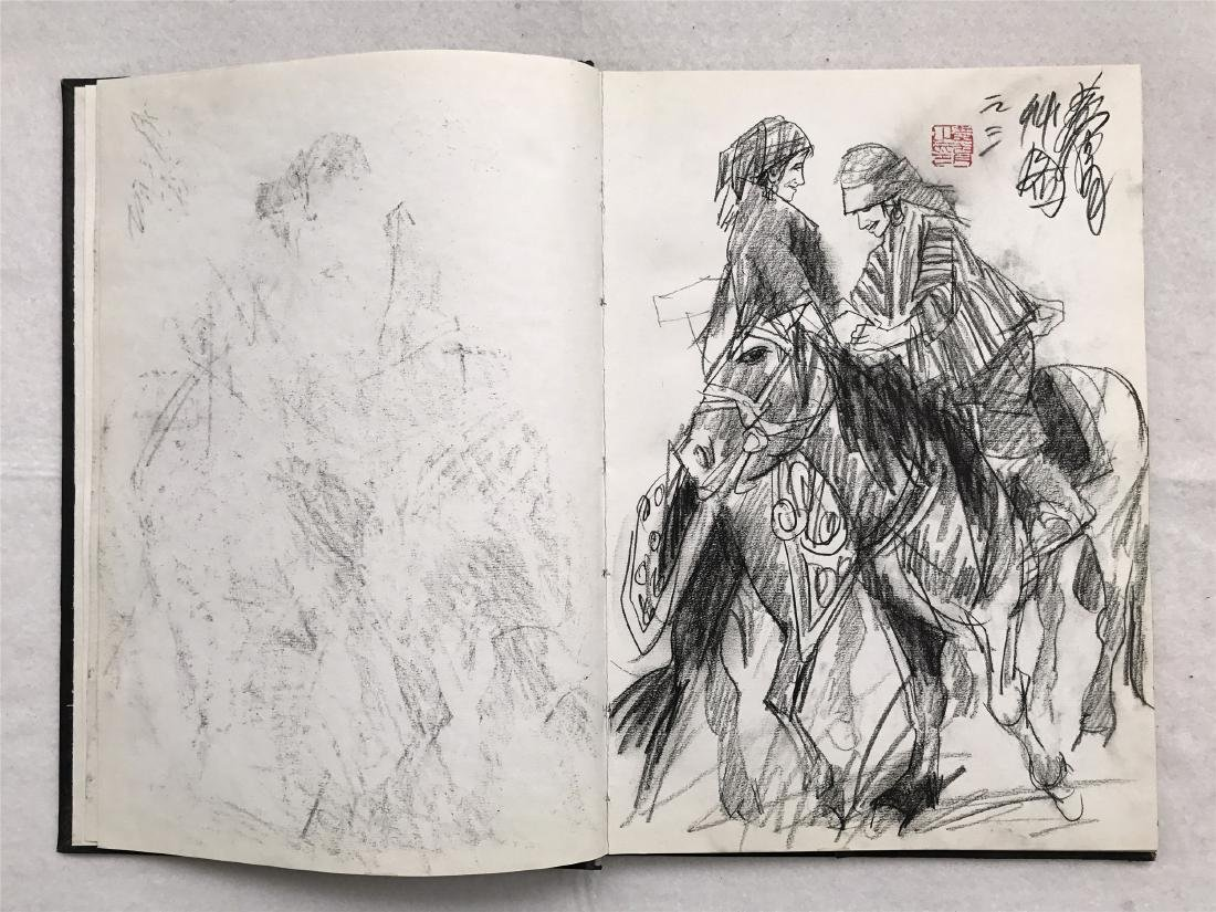 THIRTY-SIX PAGES OF CHINESE ALBUM SKETCH DRAWINGS OF - 4