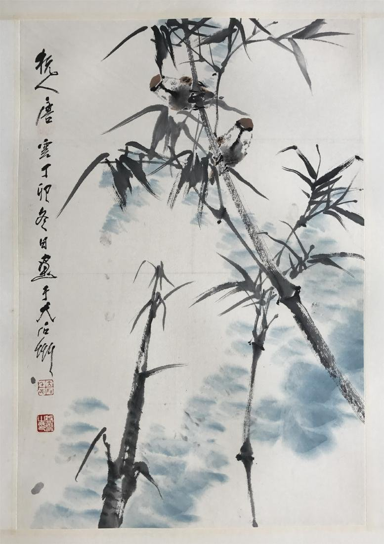 CHINESE SCROLL PAINTING OF BIRDS AND BAMBOO