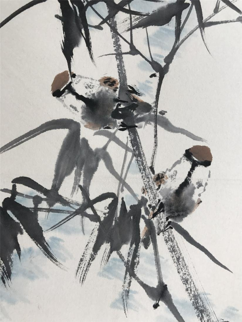 CHINESE SCROLL PAINTING OF BIRDS AND BAMBOO - 3