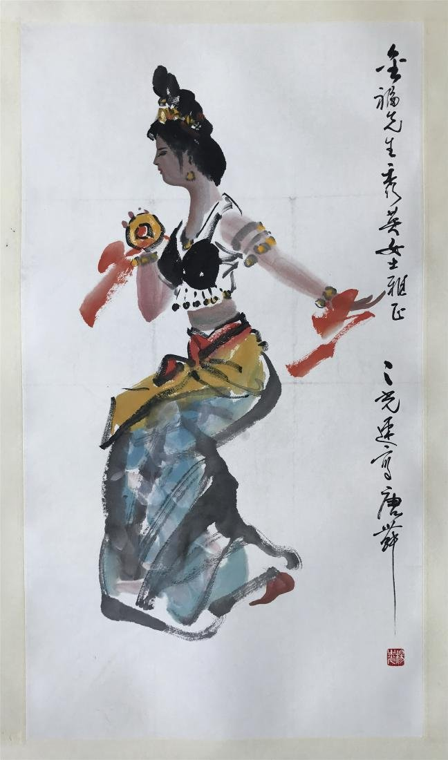 CHINESE SCROLL PAINTING OF DANCER