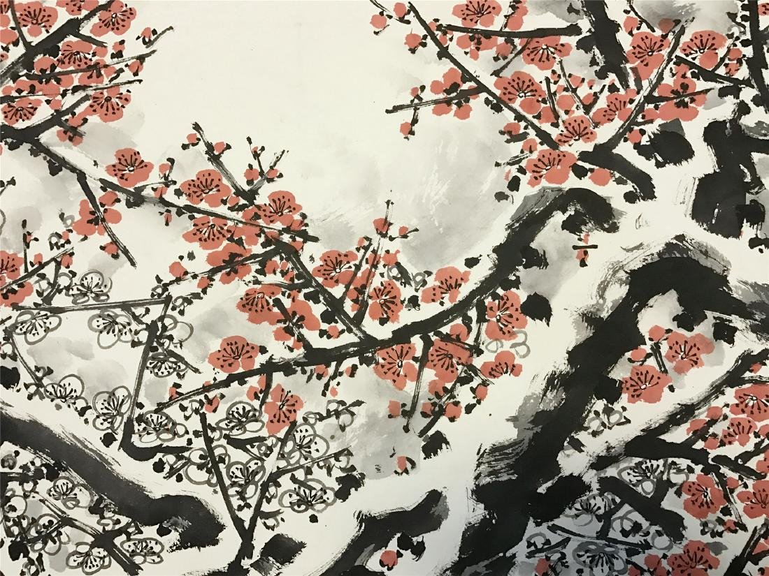 CHINESE SCROLL PAINTING OF PLUM BLOSSOMMING - 4