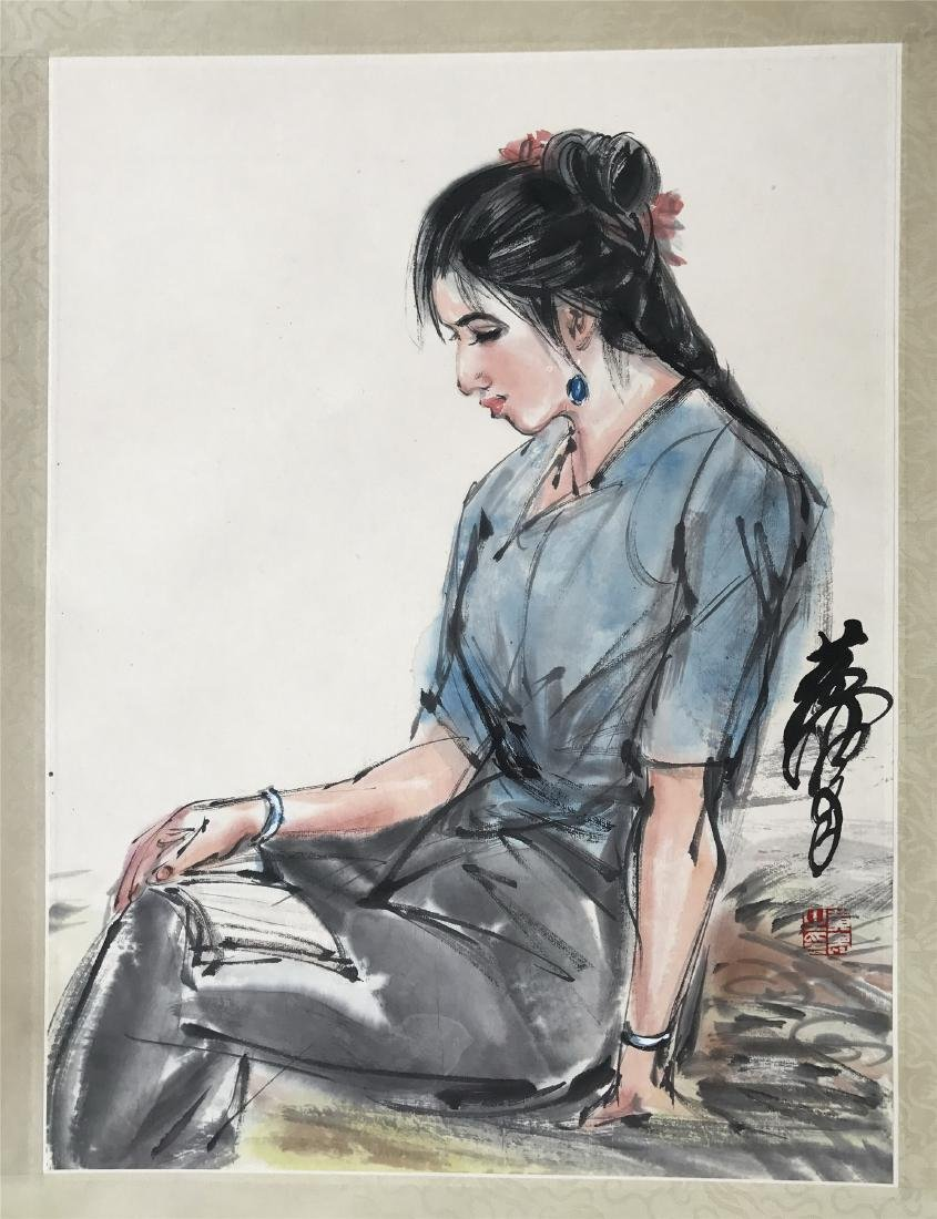 CHINESE SCROLL PAINTING OF GIRL