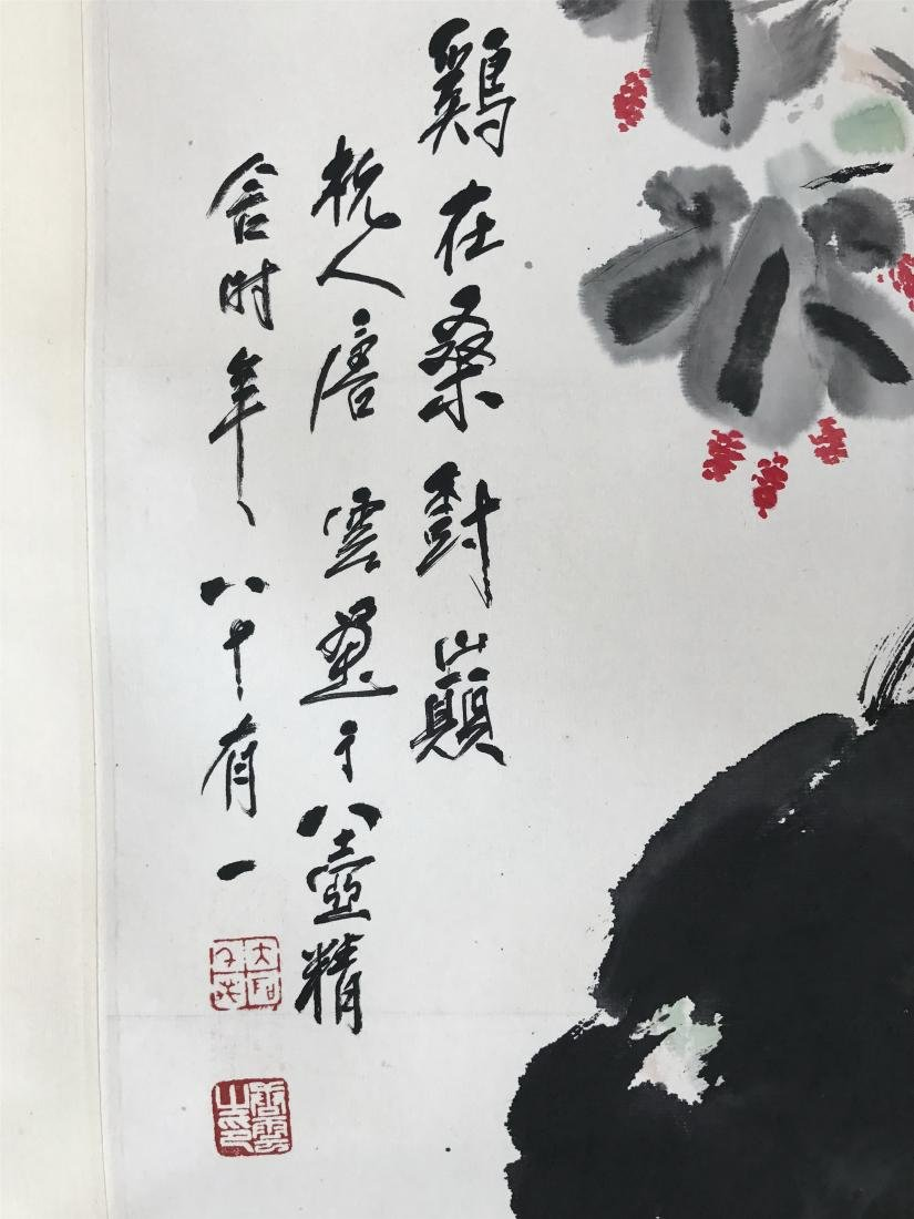 CHINESE SCROLL PAINTING OF ROOSTER - 2