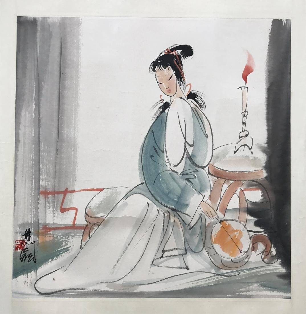 CHINESE SCROLL PAINTING OF SEATED BEAUTY