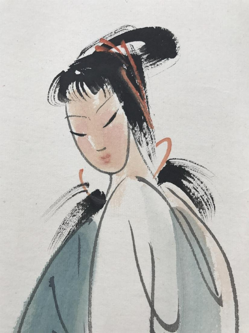 CHINESE SCROLL PAINTING OF SEATED BEAUTY - 3