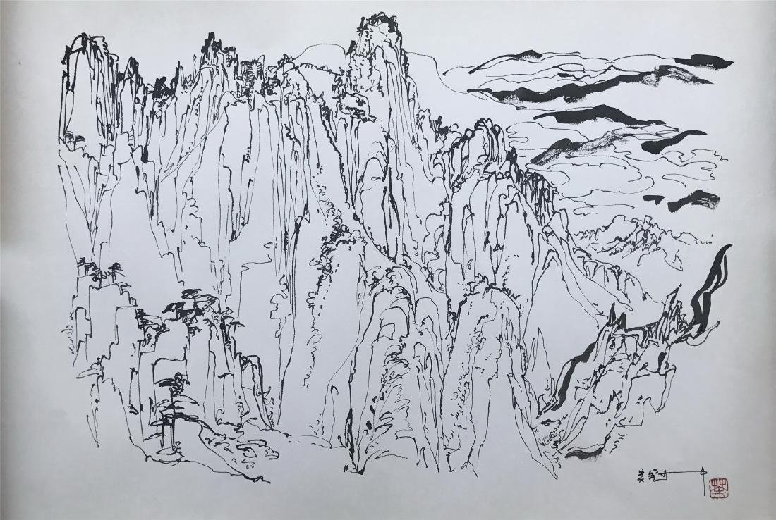 CHINESE ABSTRACT PAINTING OF MOUNTAIN VIEWS