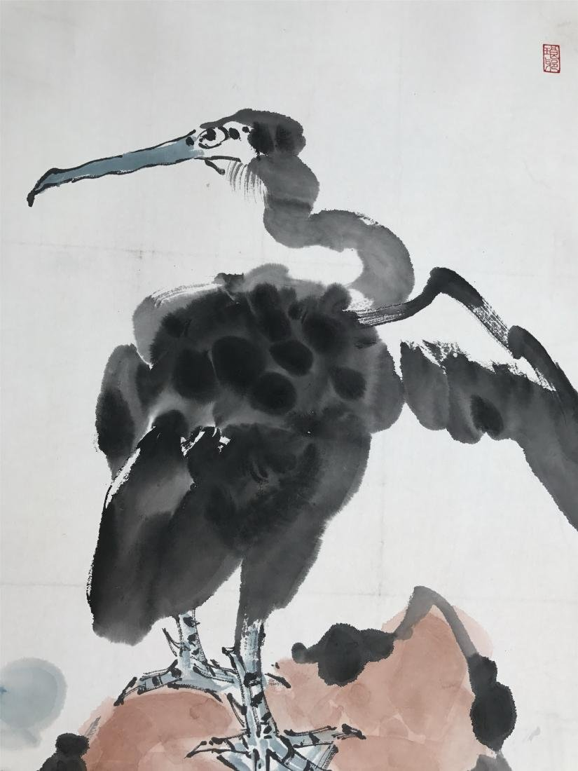 CHINESE SCROLL PAINTING OF BIRD ON ROCK - 3