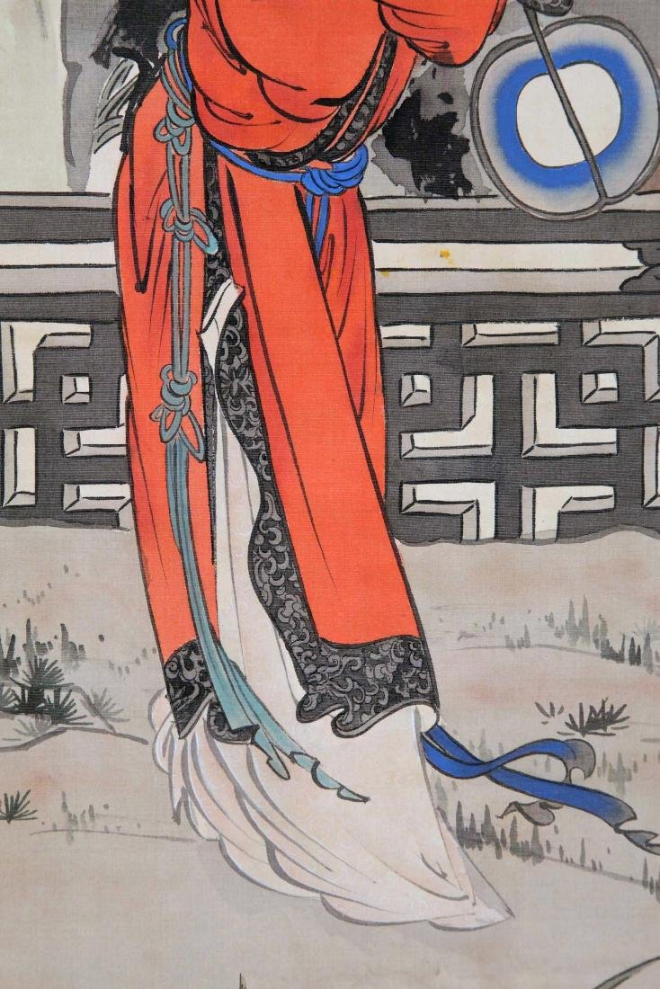 CHINESE SCROLL PAINTING OF BEAUTY IN GARDEN - 3