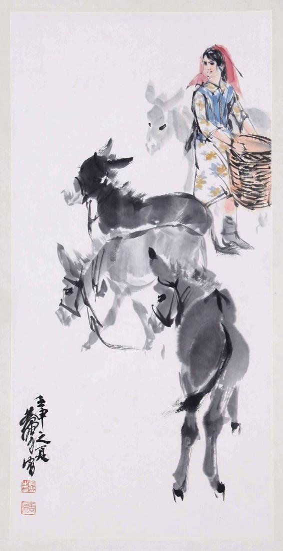 CHINESE SCROLL PAINTING OF GIRL AND DONKEY