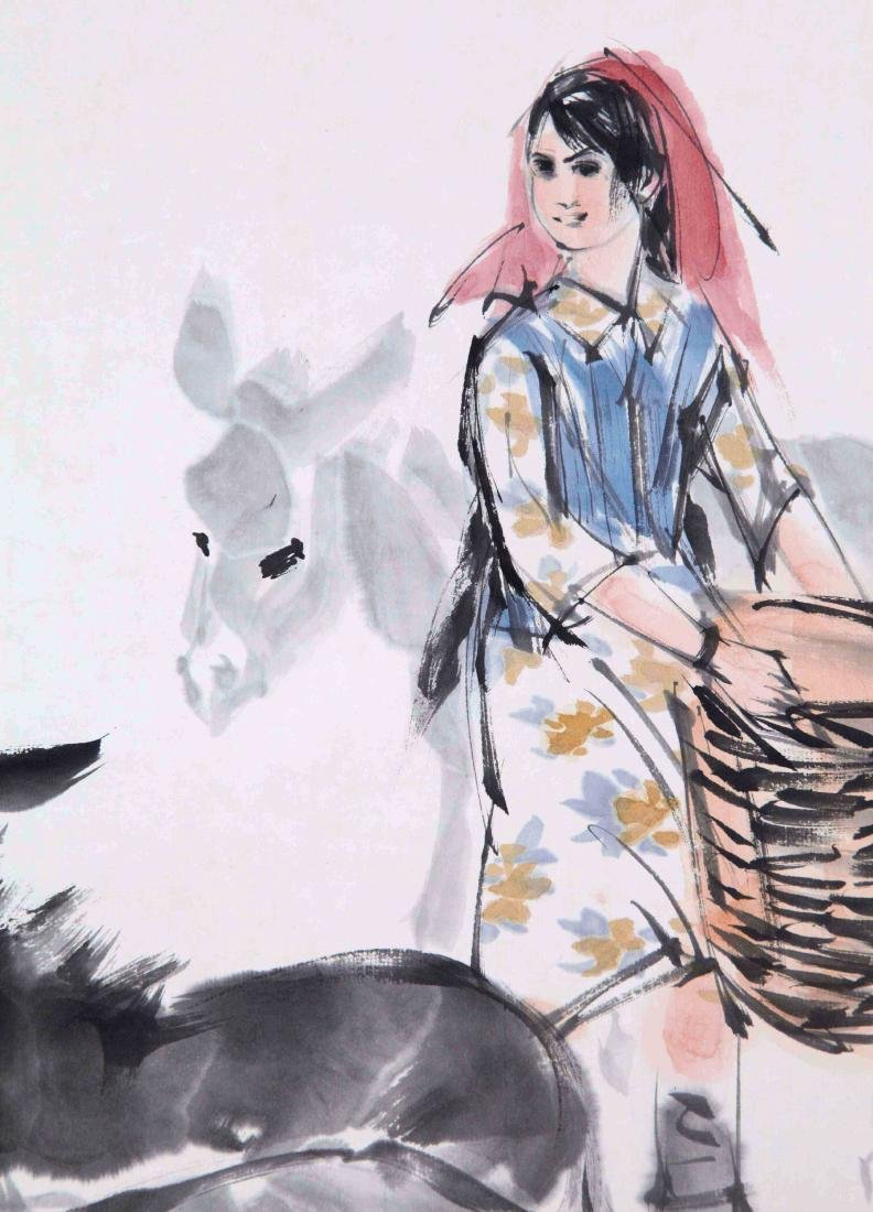 CHINESE SCROLL PAINTING OF GIRL AND DONKEY - 2