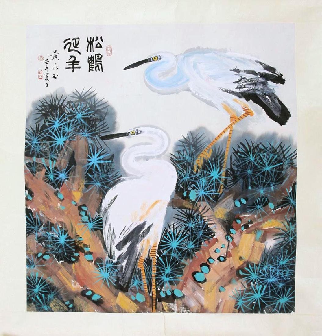 CHINESE SCROLL PAINTING OF CRANES ON TREE WITH