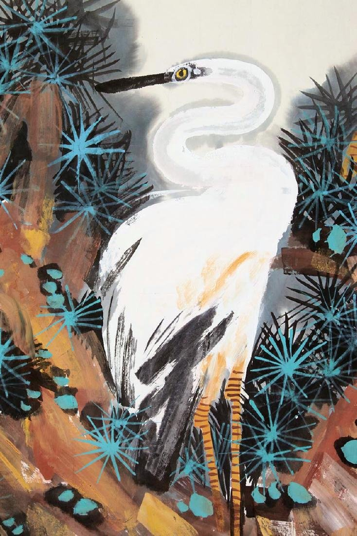 CHINESE SCROLL PAINTING OF CRANES ON TREE WITH - 2