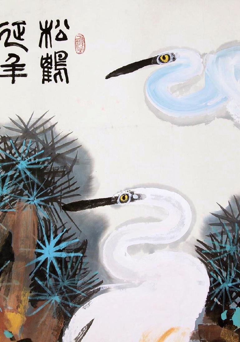CHINESE SCROLL PAINTING OF CRANES ON TREE WITH - 3