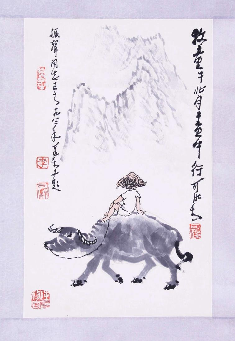 CHINESE SCROLL PAINTING OF COWBOY