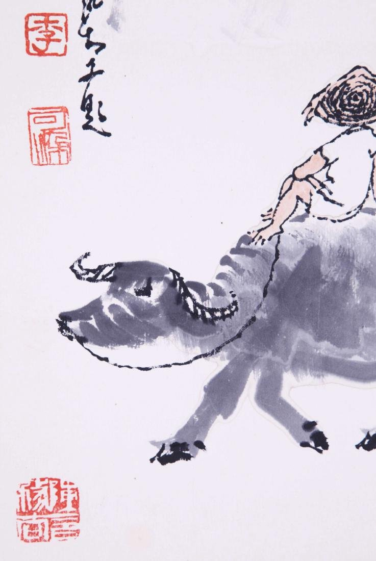 CHINESE SCROLL PAINTING OF COWBOY - 3