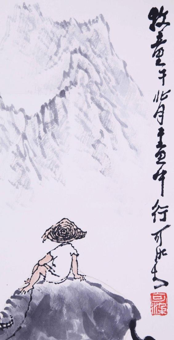 CHINESE SCROLL PAINTING OF COWBOY - 4