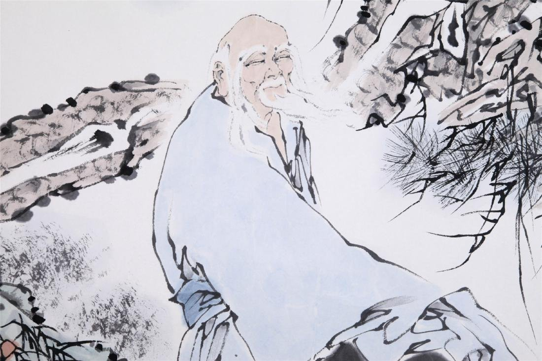 CHINESE SCROLL PAINTING OF OLD MAN AND BOY - 2