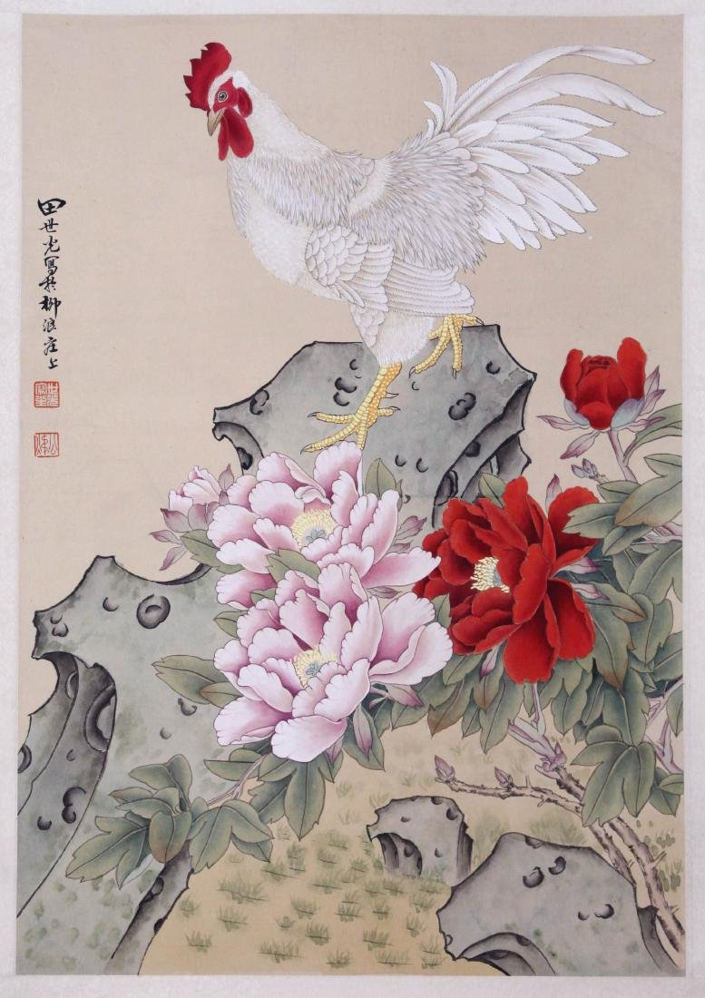 CHINESE SCROLL PAINTING OF ROOSTER