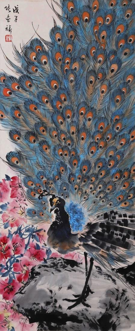 CHINESE SCROLL PAINTING OF PEACOCK