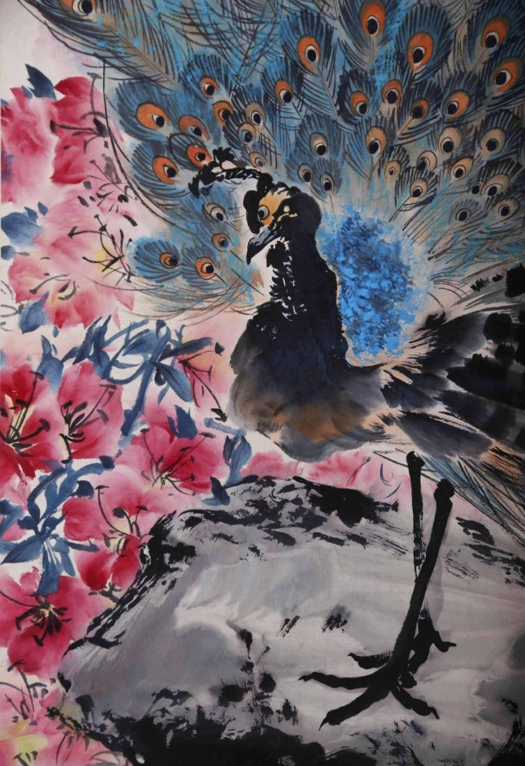 CHINESE SCROLL PAINTING OF PEACOCK - 2