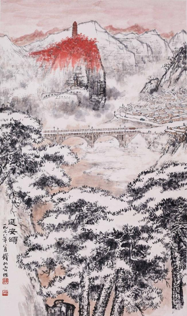 CHINESE SCROLL PAINTING OF MOUNTAIN VIEWS WITH